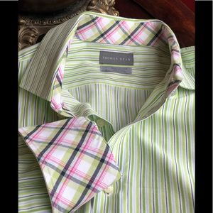 Thomas Dean sz L green white button up shirt
